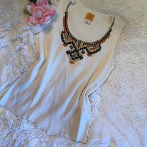 Ruby Rd Sleeveless Shirt with Incredible Beading-L